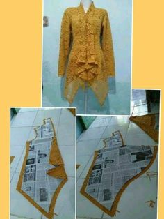 ideas for dress brokat modern pola Frock Patterns, Dress Making Patterns, Blouse Patterns, Clothing Patterns, Blouse Designs, Sewing Patterns, Kebaya Lace, Kebaya Brokat, Kebaya Dress