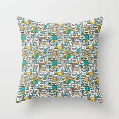 Pug pattern Throw Pillow by Gemma Correll - $20.00