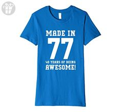 Womens 40th Birthday Gift T-Shirt Made In 1977 Awesome (Fitted) Large Royal Blue - Birthday shirts (*Amazon Partner-Link)