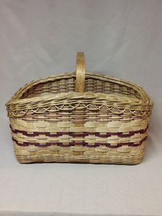 Market Style Basket Hand Woven Burgundy Accents by DiannesBaskets