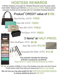 Being a Hostess is not only a fun way to get your family, friends, neighbors and co-workers together for an enjoyable and relaxing time together—it can also earn you FREE and/or discounted products!   https://margaret.miche.com/Home
