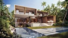 Florida-based Oppenheim Architecture just unveiled their Casa Playa oceanfront home in Golden Beach, Florida. Villa Design, House Design, Log Cabin Floor Plans, House Plans, Innovation, Eco Architecture, House Of Beauty, Modern Exterior, Exterior Homes