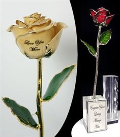 Gold Tipped Personalized Rose