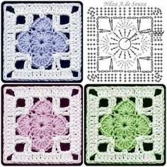 Transcendent Crochet a Solid Granny Square Ideas. Inconceivable Crochet a Solid Granny Square Ideas. Motifs Granny Square, Crochet Motifs, Crochet Blocks, Granny Square Crochet Pattern, Crochet Diagram, Crochet Stitches Patterns, Crochet Chart, Crochet Squares, Crochet Granny