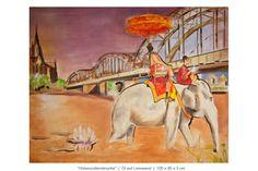 Elefant kühlt sich im Rhein