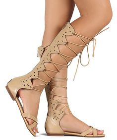 Women's Lace Up Gladiator Caged Cut Out Design Knee High Flat Sandals ** If you love this, read review now : Lace up sandals