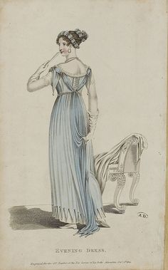 Back view of evening dress, 1811 belle assemblee
