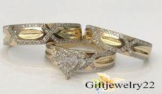 His & Hers Lab Diamonds Wedding Ring Bands Trio Bridal Set Yellow Gold Plated #giftjewelry22 #EngagementweddingAnniversaryRingBridalSet