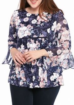 New Directions  Plus Size Knit To Woven Floral Top