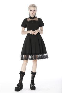 Fitted Black Dress, Short Lace Dress, Mini Dress With Sleeves, Black Midi Dress, Short Dresses, Short Sleeves, Faux Leather Dress, Leather Dresses, Goth Dress