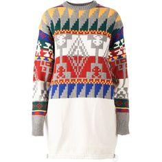 SACAI Aztec pattern knitted dress