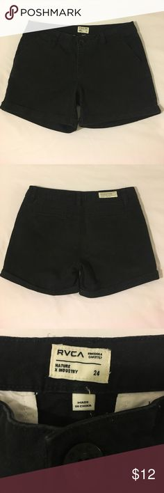 RVCA Shorts RVCA black shorts, size 24, length approximately 11.5 inches, Inseam 3.5 inches, waist 14 inches across. Used but in good condition, not holes or tears, a few very faint faded marks on back and a minor mark on front left leg. Flaws are very faint only noticeable if you look closely, tried to capture in last two pictures. Feel free to ask any other questions! RVCA Shorts