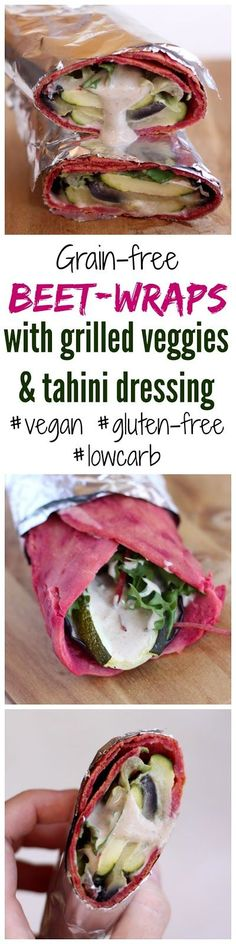 Nóri's ingenious cooking: #Grainfree #beet #wraps with grilled veggies & #tahini dressing - #vegan, #glutenfree, #lowcarb, #makeahead, #healthy #recipe