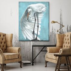 """Shop for Norman Wyatt Home """"Night Flying"""" White/ Blue Bird Gallery Wrapped Canvas Art. Get free delivery On EVERYTHING* Overstock - Your Online Art Gallery Store! Get in rewards with Club O! Buy Canvas, Canvas Wall Art, Art Store, Online Art Gallery, Blue Bird, Wrapped Canvas, Gallery Wall, Cloak, Coastal"""