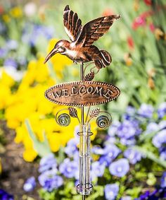 Hummingbird U0027Welcomeu0027 Rain Gauge Garden Stake