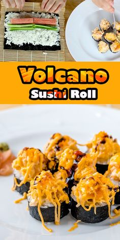 burning volcano topping recipe sushi roll with lava Burning Volcano Sushi Roll Recipe with Lava ToppingYou can find Sushi recipes and more on our website Sushi Rice Recipes, Seafood Recipes, Cooking Recipes, Baked Sushi Recipe, Volcano Roll Sushi, Cooked Sushi Rolls, Best Sushi Rolls, Homemade Sushi Rolls, Sashimi