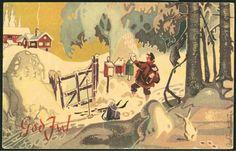 Julekort Odd BRANTENBERG. Postbud i dypsnøen Utg Oppi