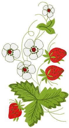 Strawberry free embroidery - Flowers free machine embroidery designs - Machine embroidery community