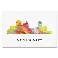 "Trademark Art ""Montgomery Alabama Skyline WB-1"" by Marlene Watson Graphic Art on Wrapped Canvas Size: 16"" H x 24"" W x 2"" D"