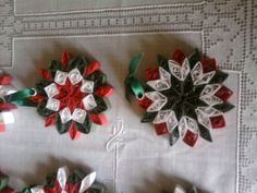 Ornaments-  created from a quilt block pattern from Melinda Johnson's quilling book.