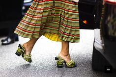 Streetstyle of Georgia tal wearing Marco De Vicenzo shoes during Milan Fashion Week Spring Summer 2017