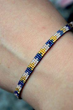 Items similar to Miyuki beaded bracelet handmade – Gold plated lobster clasp on Etsy - DIY Schmuck Beaded Braclets, Bead Loom Bracelets, Beaded Anklets, Beaded Jewelry, Diamond Bracelets, Loom Bracelet Patterns, Jewelry Patterns, Handmade Bracelets, Handmade Jewelry