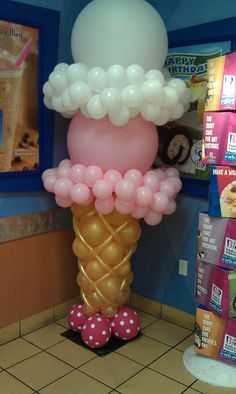 Ice cream cone balloon column