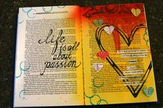 Passion - Art journal page heart - bright colors. <3