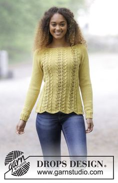Knitted jumper with leaf pattern and raglan decrease. Sizes S - XXXL. The piece is worked in DROPS Cotton Merino. Free knitting pattern by DROPS Design. Ladies Cardigan Knitting Patterns, Knitting Patterns Free, Free Knitting, Crochet Patterns, Free Pattern, Knitting Needles, Drops Design, Crochet Jumper, Knit Crochet