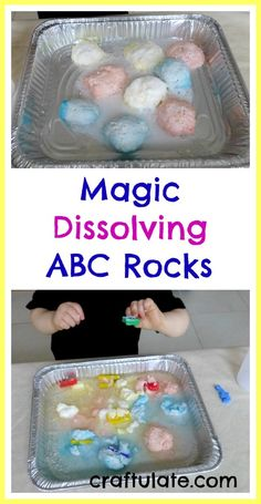 This fun ABC Rocks activity involves baking soda dough wrapped letters, which magically dissolve when vinegar is added. Science Activities For Kids, Preschool Science, Preschool Lessons, Toddler Activities, Easter Activities, Preschool Learning, Learning The Alphabet, Alphabet Activities, Fun Learning