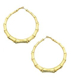 Belle Pink Women's Gold Plated Bamboo Hoop Earrings, 3 inches -- More info @ http://www.amazon.com/gp/product/B01CKEOINS/?tag=splendidjewelry07-20&pij=140716222001