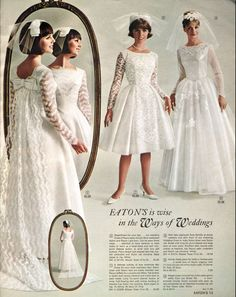 Love the bow!  retro theme... Wedding dresses in the  Eaton's catalogue - Spring and Summer, 1965