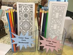 Fabled Librarian Create some black and white bookmarks and put them out with coloring supplies. Supports literacy and creativity together (and looks pretty fun too) Library Games, Teen Library, Library Skills, Library Activities, Library Ideas, School Library Displays, Middle School Libraries, Elementary School Library, School Library Decor