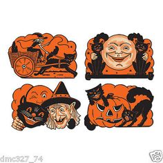 Beistle Halloween Cutouts, This item is a great value! 4 per package Halloween-Vintage party item Cutouts for festive occasions High Quality Halloween Vintage, Beistle Halloween, Vintage Halloween Decorations, Halloween Party Decor, Halloween Cards, Fall Halloween, Paper Halloween, Halloween Stuff, Halloween Printable