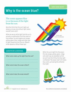 Third Grade Physical Science Worksheets: Why is the Ocean Blue?