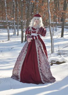 Red and silver gown, Angela Clayton Mode Renaissance, Costume Renaissance, Renaissance Dresses, Renaissance Fashion, Medieval Dress, Historical Costume, Historical Clothing, Fantasy Costumes, Cosplay Costumes