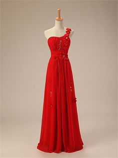 One Shoulder Sweetheart Neckline Beaded Hand-made Flowers Red Chiffon Floor Length Fashion Prom Dress