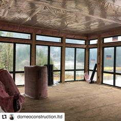 Beautiful views inside and out at this stunning modern home being built by Domeo Constuction with custom Westeck black painted windows frames and patio openings! #customhomebuilders #customhomes #modernhomes #customwindows #windowdesign #fenestration #blackwindowframes #highperformancewindows Custom Home Builders, Custom Homes, Black Window Frames, Custom Windows, Window Design, Gazebo, Construction, Outdoor Structures, Patio