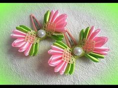 DIY/MK/Tutorial/Kanzashi flower red&gold - bricoart.kam - YouTube