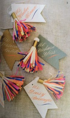 Each set includes: - 20 Tassel Place Cards - 1 color combination can have up to 3 color options - each tassel comes with a creamy white flag * Personalization available. Please call to inquire *