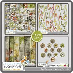 Foliferous - Digital Scrapbook Kit Collection by Captivated Visions $13.85