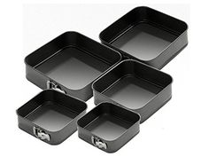 Set Of 5 Square Non Stick Spring Form Cake Tin / Tray Set For Baking. 5 Tier Wedding Cakes, New Home Essentials, Tie Storage, Sock Tie, Square Cakes, Home Gadgets, Cake Tins, Bakeware, Tray Bakes