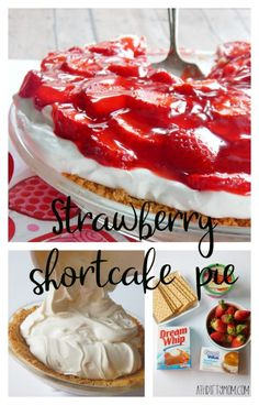 Strawberry shortcake pie is a decadent dessert filled with yummy strawberry shortcake goodness. Make this with fresh strawberries. Köstliche Desserts, Delicious Desserts, Dessert Recipes, Strawberry Shortcake Recipes, Strawberry Cookies, Strawberry Desserts, Chocolate Strawberries, Covered Strawberries, Easy Cake Recipes