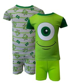 Disney Pixar Monsters Inc Mike 4 piece Combo Toddler Pajamas  If he likes green, these are the jammies for him! These short sleeve short pant pajamas for toddler boys feature one pair that looks like Mike, while the other pair has Mike and the Monsters Inc logo on a fun striped pattern. These garments are designed to be snug fitting to comply with safety standards, 100% cotton. $24