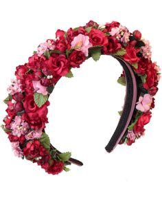 Blumenhaarband, Blumenkranz, Hair, Frisur,  Haarreifen - Ein buntes Farbenmeer aus roten und rosafarbenen Seidenblüten.