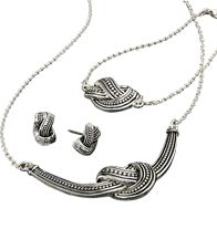 "Helena 3-Piece Gift Set - Silvertone. Bracelet, 7 1/4"" L with 1"" extender. Necklace, 16 1/2"" L with 3 1/2"" extender. Pierced earrings. Regularly $19.99, buy Avon jewelry online at http://eseagren.avonrepresentative.com"