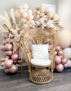 Boho Baby Shower, Baby Shower Chair, Floral Baby Shower, Girl Shower, Bridal Shower Chair, Shower Party, Baby Shower Parties, Baby Shower Themes, Baby Shower Balloon Ideas