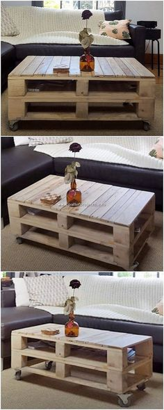 Coffee table is right here for you! This coffee table framework plan of the wooden pallet is presented to make it use upon as the medium of coffee serving for the guests coming to your house. Wooden Pallet Shelves, Pallet Desk, Pallet Cabinet, Wood Pallet Furniture, Wooden Pallets, Planter Box Designs, Shelving Design, Palette, Shipping Pallets