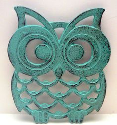 Hey, I found this really awesome Etsy listing at https://www.etsy.com/listing/227743304/owl-trivet-hot-plate-dark-turquoise