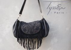 cabas cuir et broderie  Handmade leather embroidered bag by Tyssen- Paris    Www.tyssenparis.com